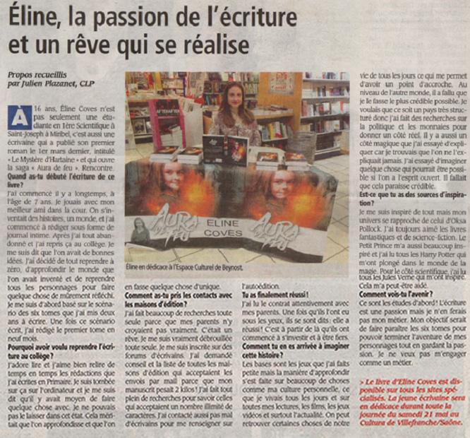 Article de la Voix de l'Ain du 20 Mai 2016– J. Plazanet